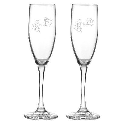 Bride and Groom Swirl Hearts Wedding Champagne Flutes