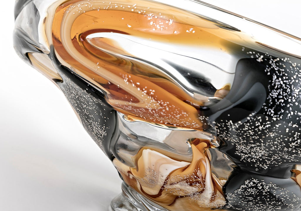 Gold and Black Decorative Glass Bowl