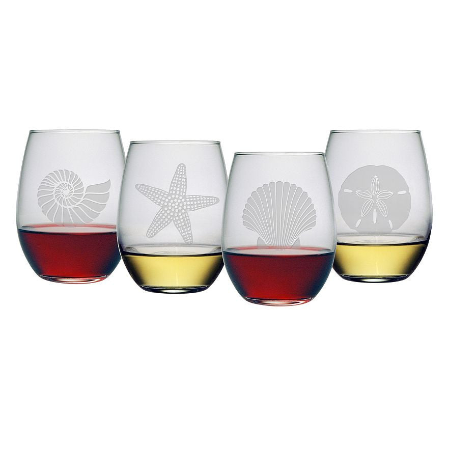 Seashore Stemless Wine Glasses ~ Set of 4