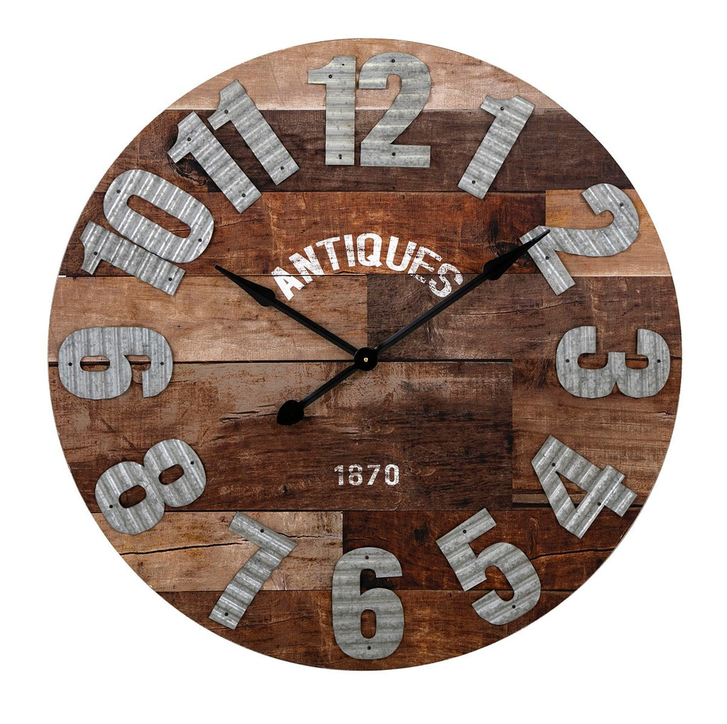 Antiques Wood and Metal Wall Clock - Premier Home & Gifts