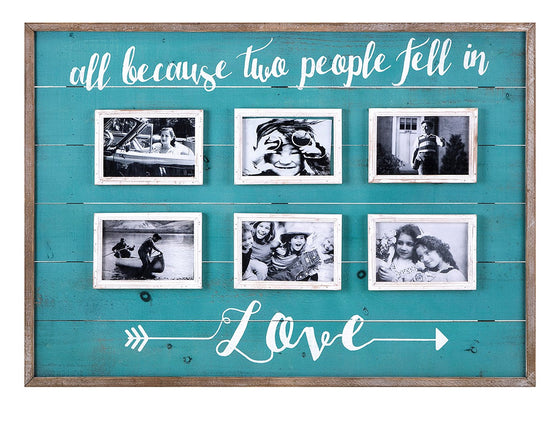 Fell in Love Wall Picture Collage Frame - Photo Picture Frames Aqua Rustic Decor