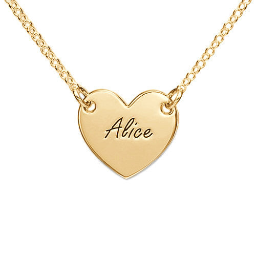 Engraved Heart 18K Gold Plated Silver Necklace