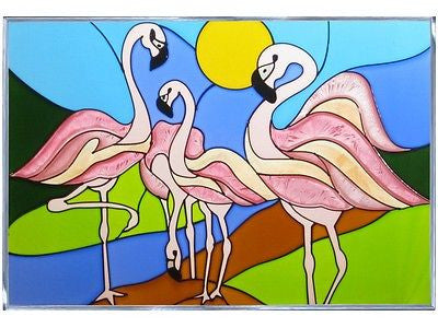 Flamingos Hand Painted Stained Glass Art