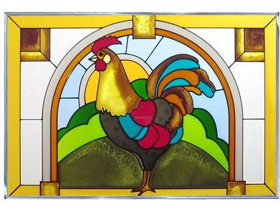 Rooster Hand Painted Stained Glass Art