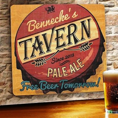 Wood Tavern & Bar Sign ~ Free Beer Tomorrow