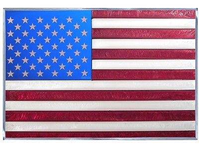 American Flag Hand Painted Stained Glass Art