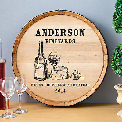 Wine Barrel Sign - Wine & Cheese