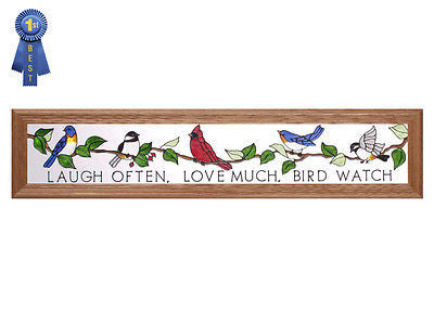 Birdwatchers Hand Painted Stained Glass Art