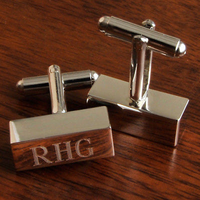 Silver Engraved Cuff Links ~ Monogrammed