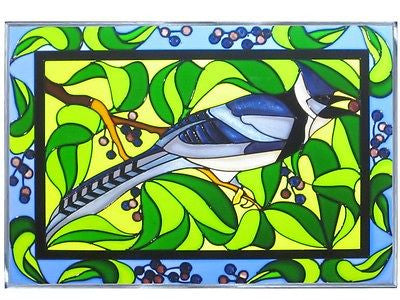 Bluejay Hand Painted Stained Glass Art