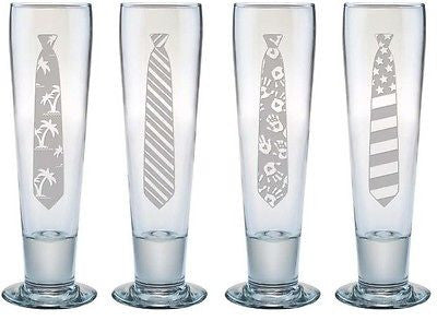 Pilsner Glasses with Necktie Designs
