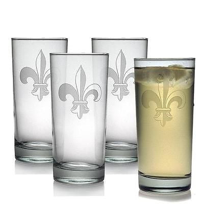 Fleur de Lis Highball Glasses Set of 4