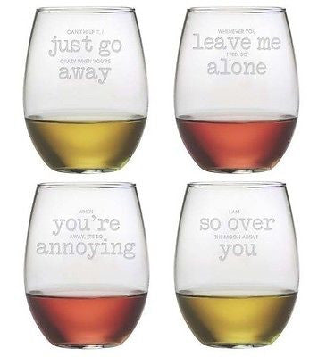 It's In the Small Print Stemless Wine Glasses