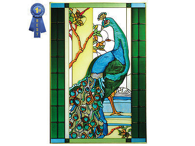 Peacock Hand Painted Stained Glass Art