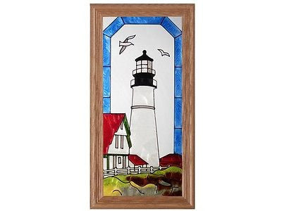 Lighthouse Hand Painted Stained Glass Art Panel