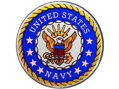 US Navy Hand Painted Stained Glass Art
