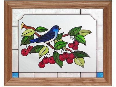 Bluebird & Cherries Hand Painted Stained Glass Art