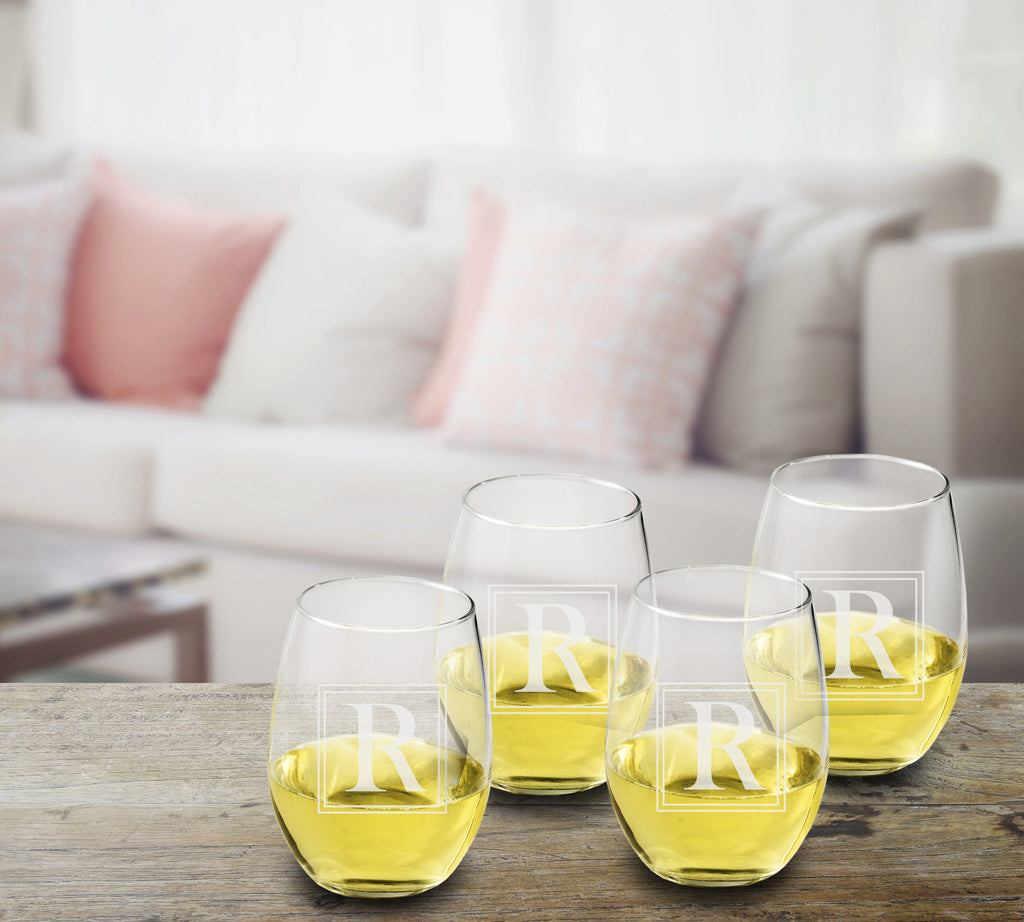 Initial Stemless Wine Glasses - Set of 4 | Premier Home & Gifts