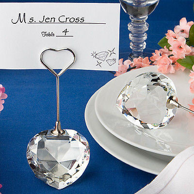 Crystal Heart Design Place Card Holders