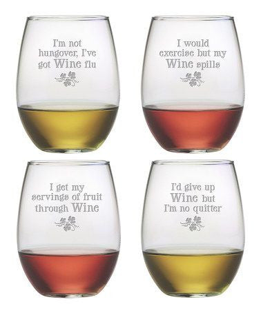 Wine Justification Stemless Wine Glasses ~ Set of 4