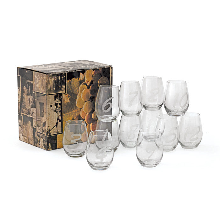 Numerical Stemless Wine Glasses ~ Set of 12