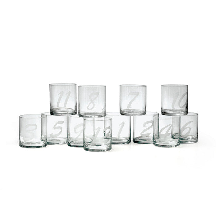 Numerology Double Old Fashioned Glasses ~ Set of 12
