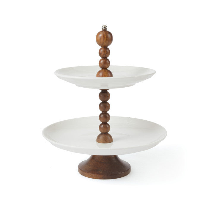Benton Wood and Porcelain Serving Stand