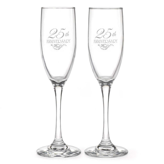 25th Wedding Anniversary Champagne Flutes