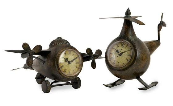 Metal Aviation Clocks - Set of 2