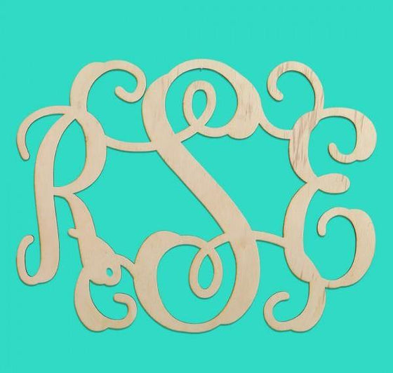 Scroll Wood Monogram - Monogrammed Gifts
