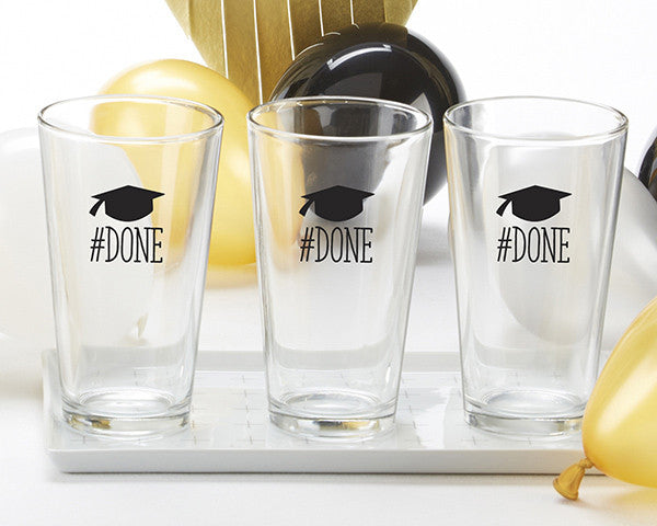 done graduation pint glasses set of 4