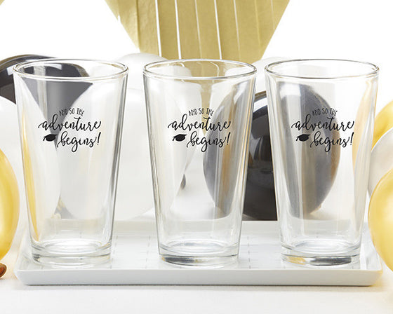 Adventure Begins Graduation Pint Glasses - Set of 4 - Premier Home & Gifts