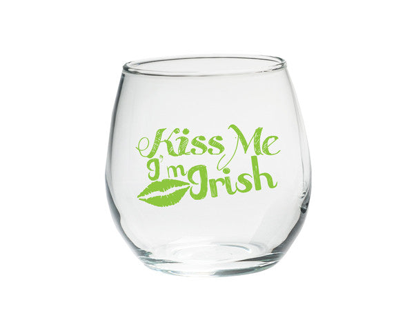 Kiss Me I'm Irish Stemless Glasses - Set of 4