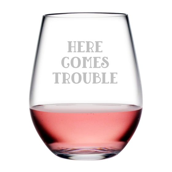 Here Comes Trouble Tritan™ Shatterproof Stemless Tumblers