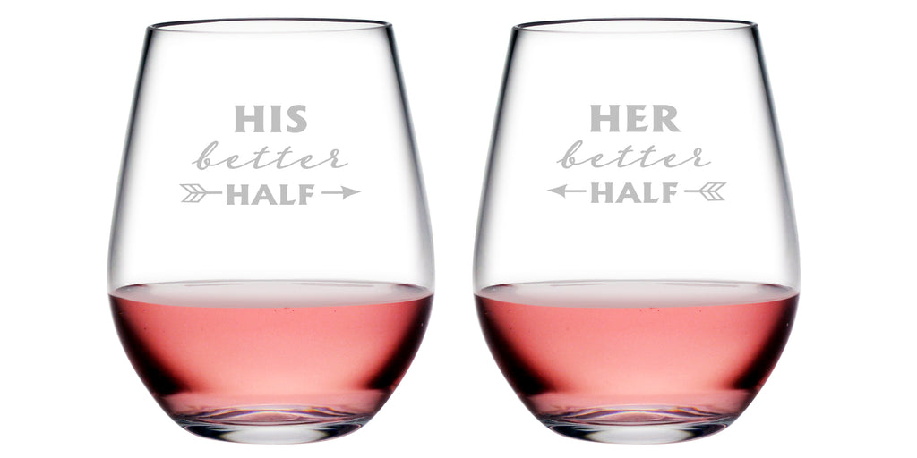 His & Her Better Half Tritan™ Shatterproof Stemless Tumblers - Couples Gifts