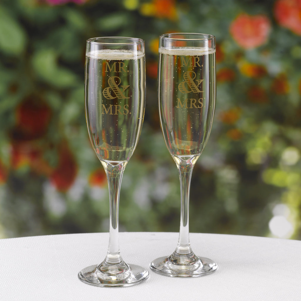 Mr. & Mrs. Wedding Anniversary Champagne Flutes