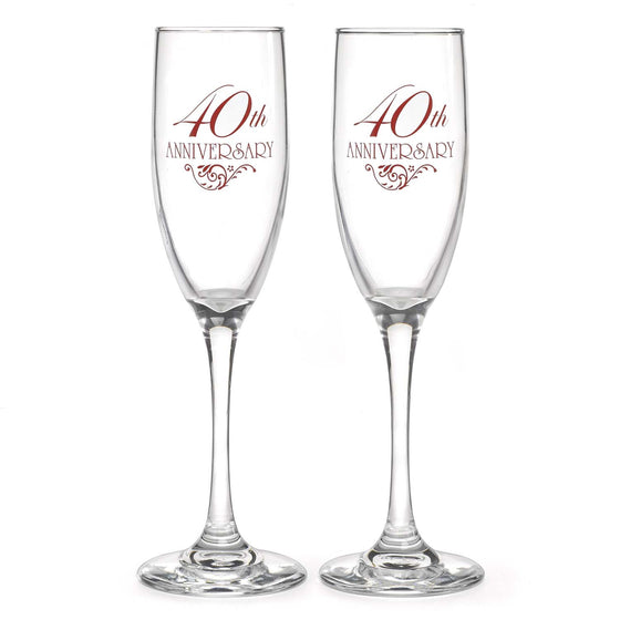 40th Wedding Anniversary Champagne Flutes