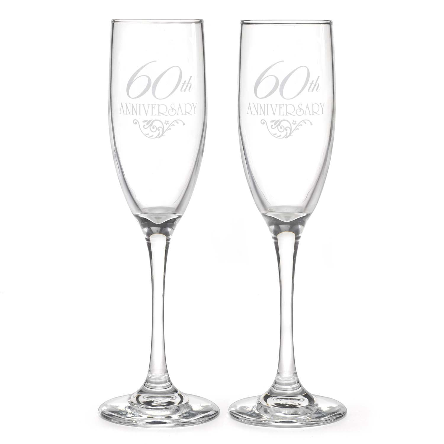 60th Wedding Anniversary Champagne Flutes