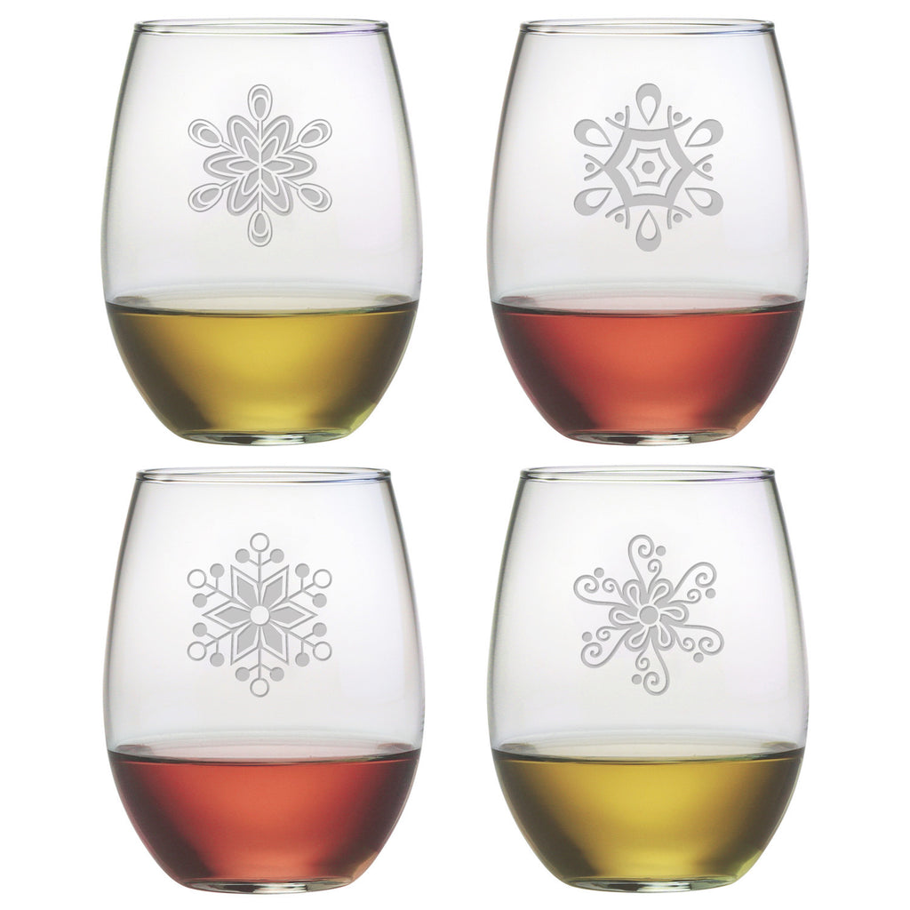 Abstract Snowflakes Stemless Wine Glasses ~ Set of 4