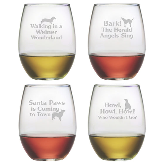 Canine Carols Stemless Wine Glasses ~ Set of 4