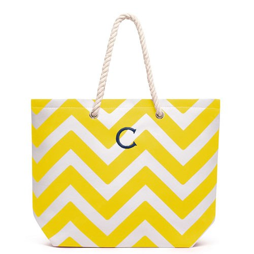 Allie Chevron Tote Bag - Yellow - Personalized