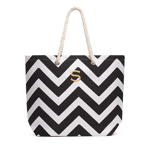Allie Chevron Tote Bag - Black - Personalized