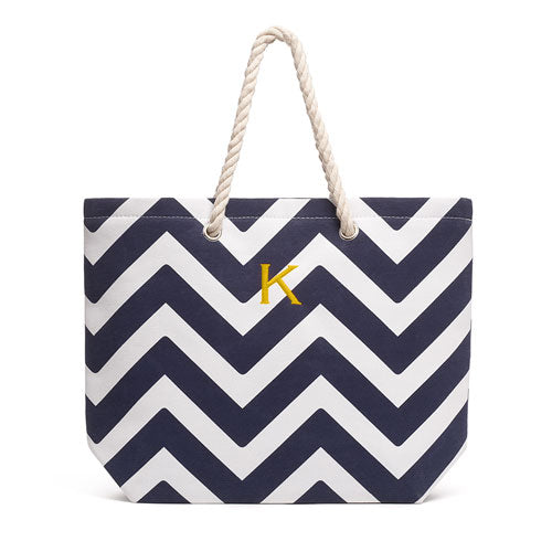 Allie Chevron Tote Bag - Navy - Personalized