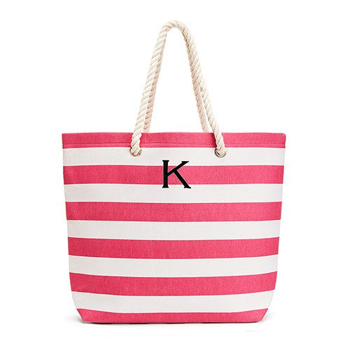Allie Stripe Tote Bag - Pink - Personalized