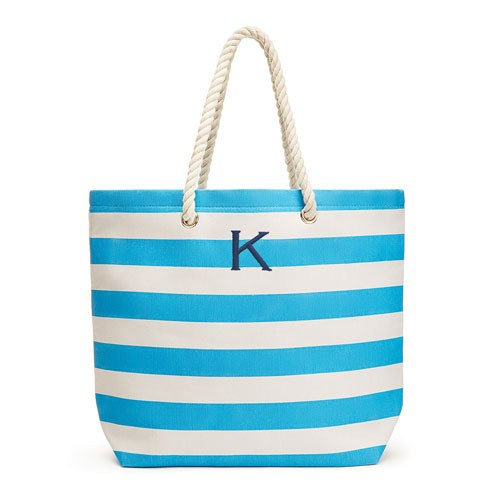 Allie Stripe Tote Bag - Sky Blue - Personalized