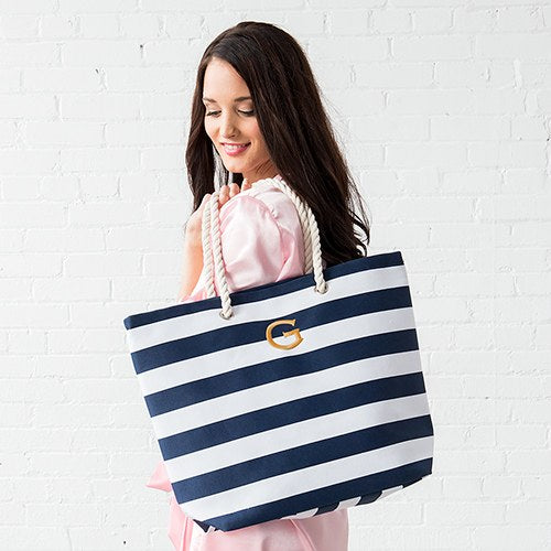 Allie Stripe Tote Bag - Navy - Personalized