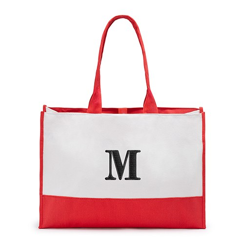 Mila Initial Tote Bag - Soft Red