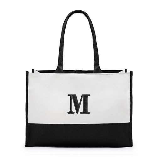 Mila Initial Tote Bag - Black