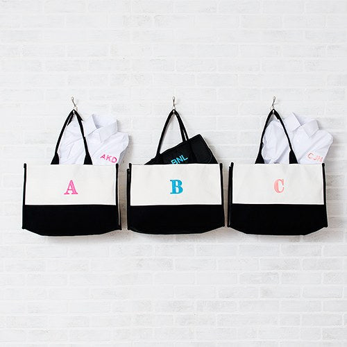 Mila Initial Tote Bag - Black - Premier Home & Gifts