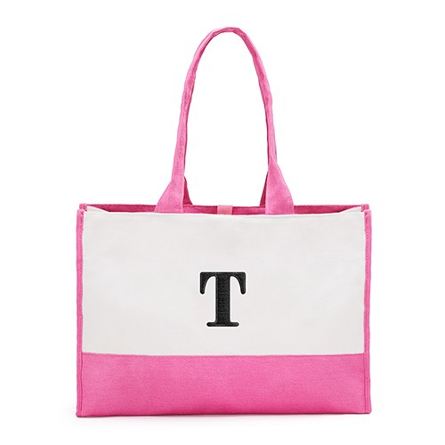 Mila Initial Tote Bag - Hot Pink - Premier Home & Gifts